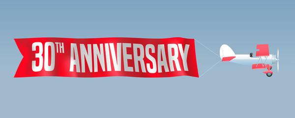 30 years anniversary vector illustration, banner, flyer