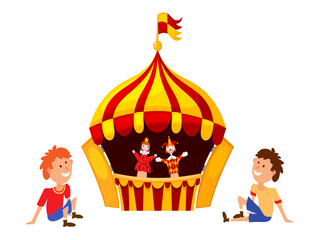 Bright a puppet theater on a white background. Vector illustrati