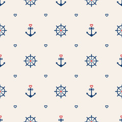 Nautical seamless pattern background with anchors, wheels and he