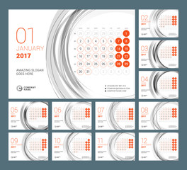 Calendar Template for 2017 Year. Vector Illustration. Week Starts on Monday