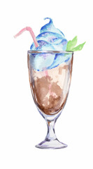 Isolated watercolor cocktail. Isolated glass with alcohol drink on white background. Milkshake.