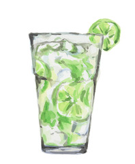 Isolated watercolor cocktail. Isolated glass with alcohol drink on white background. Ice cubes and lime. Mojito.
