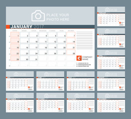 Calendar Template for 2017 Year. Vector Illustration. Week Starts on Sunday