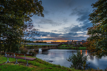 Wark Bridge over North Tyne in Twilight, as the  river passes the village of Wark in Northumberland, on its way to the confluence with the South Tyne