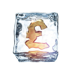 3d ice cube with golden sign inside. Symbol in an ice cube. Debt postpone or freezing investments creative illustration.