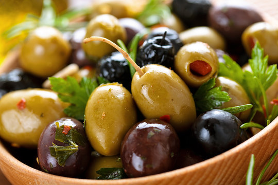 Marinated olives with herbs.