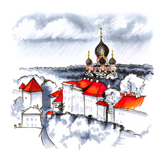 Color hand drawing, Toompea hill with fortress wall, tower and Russian Orthodox Alexander Nevsky Cathedral, view from the tower of St. Olaf church on a rainy day, Tallinn, Estonia. Picture made liner