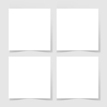 four pieces blank sheet of white paper with the shadow for your