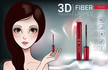 aebd392ac79 Vector Illustration with Manga style girl and mascara. - Buy this ...
