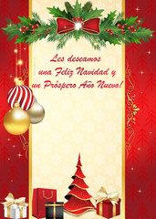 Les deseamos Feliz Navidad y Feliz Año Nuevo - Tarjeta de felicitación para las vacaciones de invierno