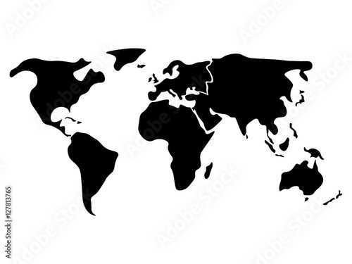 World Map Divided To Six Continents In Black North America - World map without labels