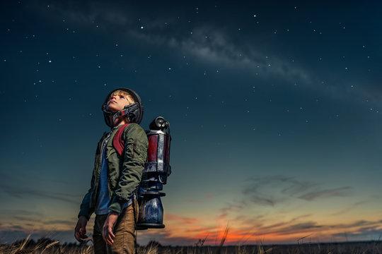 Boy with starry sky