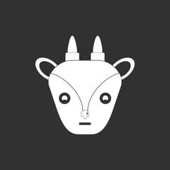 Vector illustration of animals on stylish background goat face