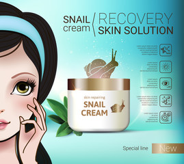 Vector Illustration with Manga style girl and snail cream container.