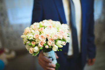 Groom with Rose Bouquet