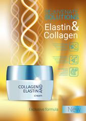 Vector Illustration with Collagen and Elastin cream