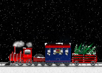 Christmas graphic illustration of train traveling at night with snow falling.  Colorful cars including, passenger, coal and wagon filled with Christmas Trees.