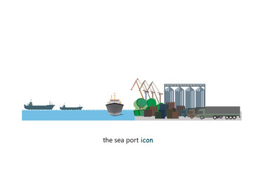 The icon of sea port infrastructure. Borders for cargo processes illustration.