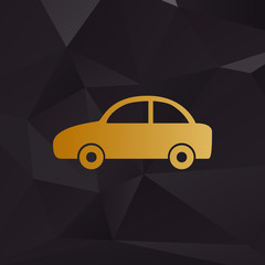Car sign illustration. Golden style on background with polygons.