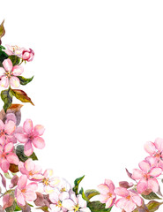 Floral retro background with blossom. White, pink apple flowers. Vintage watercolour