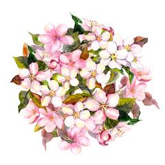 Floral circle, pink flowers - apple, cherry, sakura blossom. Watercolor