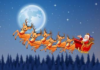 Santa Claus rides reindeer sleigh flying in the sky