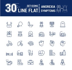 Vector set graphic logo, icon. Anorexy. Concept psychological disease. Vomitig, weight loss. Symptoms, disorder. Linear, flat, contour, thin. App, template, infographic. Symbol, element, emblem.