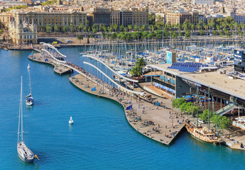Barceloneta cruise port and public promenade from cable car