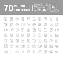 Vector graphic set.Logo, icon. E-book, pocket book. Linear, flat, contour, thin design. App, Template, infographic. Symbol, element, emblem, smart technologies. Modern gadget online library education.