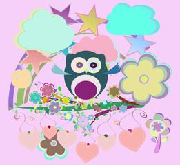 ?artoon set owls, birds, flowers, sky, cloud