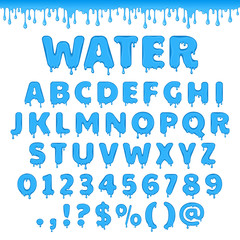 Fresh water latin alphabet, abc. Set of vector letters with splash of blue liquid or clear aqua. Numbers and symbols isolated on white background.