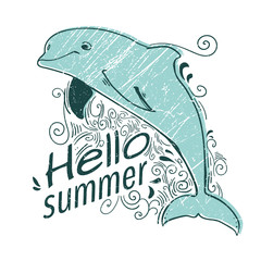 Cute background with a dolphin. Summer illustration. Hello summer. Sea style.