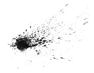 Stain on a white background. Spray. Brush. Background for your design. Isolated element. Spot black paint. Paint spraying.