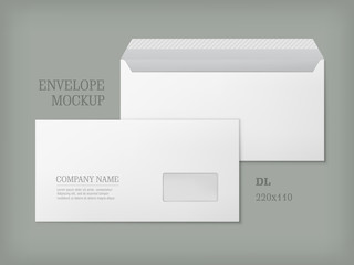 Open and closed white empty envelopes for letters and documents. Paper blank template with transparent window. Mockup post envelope. Vector illustration isolated on gray background.