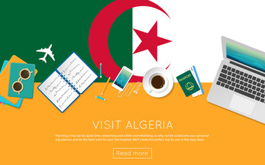 Visit Algeria concept for your web banner or print materials. Top view of a laptop, sunglasses and coffee cup on Algeria national flag. Flat style travel planninng website header.