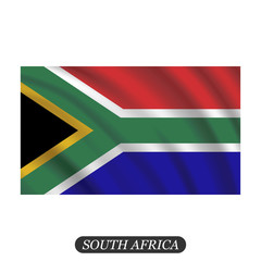Waving South Africa flag on a white background. Vector illustration