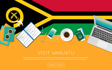 Visit Vanuatu concept for your web banner or print materials. Top view of a laptop, sunglasses and coffee cup on Vanuatu national flag. Flat style travel planninng website header.