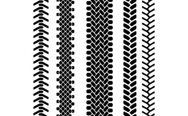 Black and white tire tread protector track seamless pattern, vector set