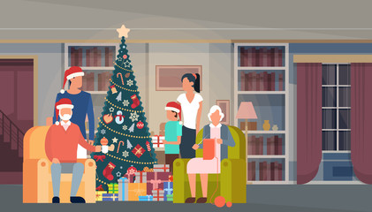 Big Family Christmas Green Tree With Gift Box House Interior Decoration Happy New Year Banner Flat Vector Illustration