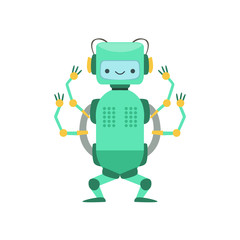Green Friendly Android Robot Character With Four Arms Vector Cartoon Illustration