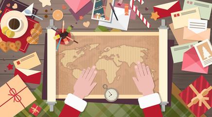 Santa Clause Christmas Cartoon Character Sitting Desk World Map Concept Flat Vector Illustration