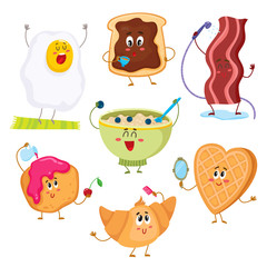 Set of cute and funny breakfast characters, cartoon vector illustration isolated on white background. Fried egg, bacon, croissant, cereal, toast with chocolate spread, waffle and donut characters