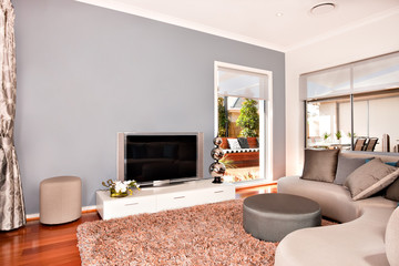 Modern living room interior with a television and round sofas in