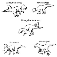 Dinosaurs with names. Pencil sketch by hand