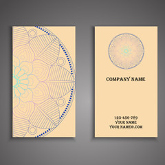 Vector business card. Floral mandala pattern and ornaments. Orie