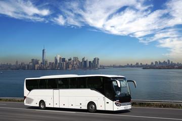 White bus on tour