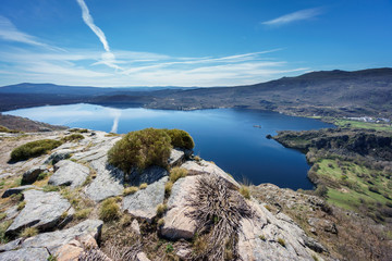 Top view of Sanabria lake over rocks (Spain)