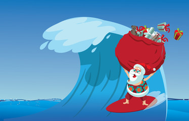 Cartoon Santa Claus surfing a gnarly wave while delivering Christmas gifts. Background with copy space for tropical Christmas or after Christmas.