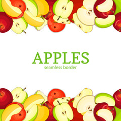 Apple Horizontal seamless border. Vector illustration card top and bottom Yellow red and green apples fruits whole and slice appetizing looking for packaging design of juice breakfast, healthy eating