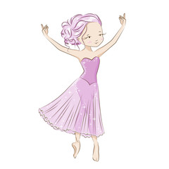 Beautiful ballerina in classical tutu on a white background. Hand drawn illustration.